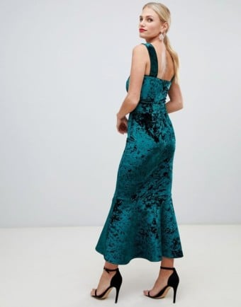 TRUE VIOLET Velvet Square Neck Pephem Midi Boydon Green Dress