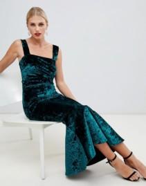 TRUE VIOLET Velvet Square Neck Pephem Midi Boydon Green Dress