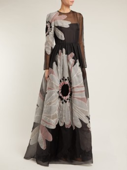 VALENTINO Flower Appliqué Organza Black Gown