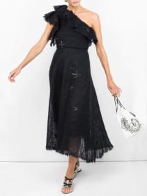 VALENTINO One Shoulder Lace Black Dress