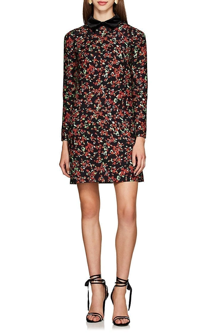 VALENTINO Velvet-Trimmed Shift Black / Floral-Printed Dress