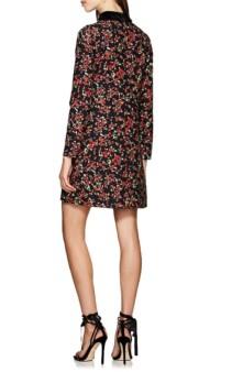 VALENTINO Velvet-Trimmed Shift Black / Floral-Printed Dress
