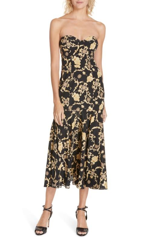 VERONICA BEARD Annika Strapless Stretch Silk Black / Floral Printed Dress