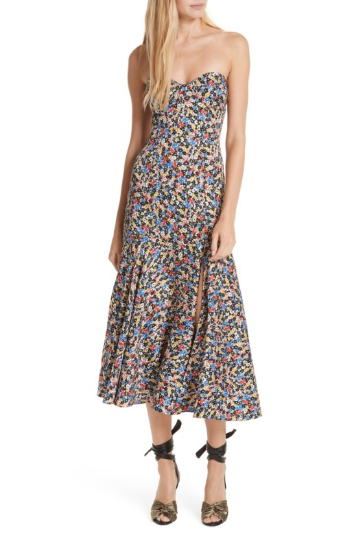 VERONICA BEARD Annika Strapless Stretch Silk Multi / Floral Printed Dress