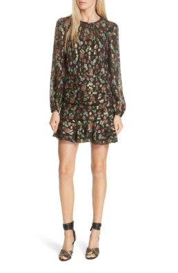 VERONICA BEARD Robin Silk Blend Jacquard Mini Black Multi Dress