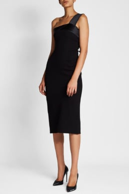 VICTORIA BECKHAM Asymmetric Satin Black Dress