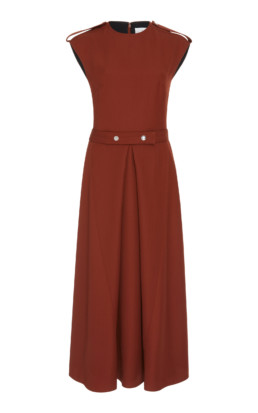 VICTORIA BECKHAM Belted Boiled-Wool Midi Brown Dress 2