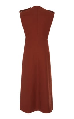 VICTORIA BECKHAM Belted Boiled-Wool Midi Brown Dress 3