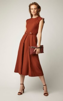 VICTORIA BECKHAM Belted Boiled-Wool Midi Brown Dress