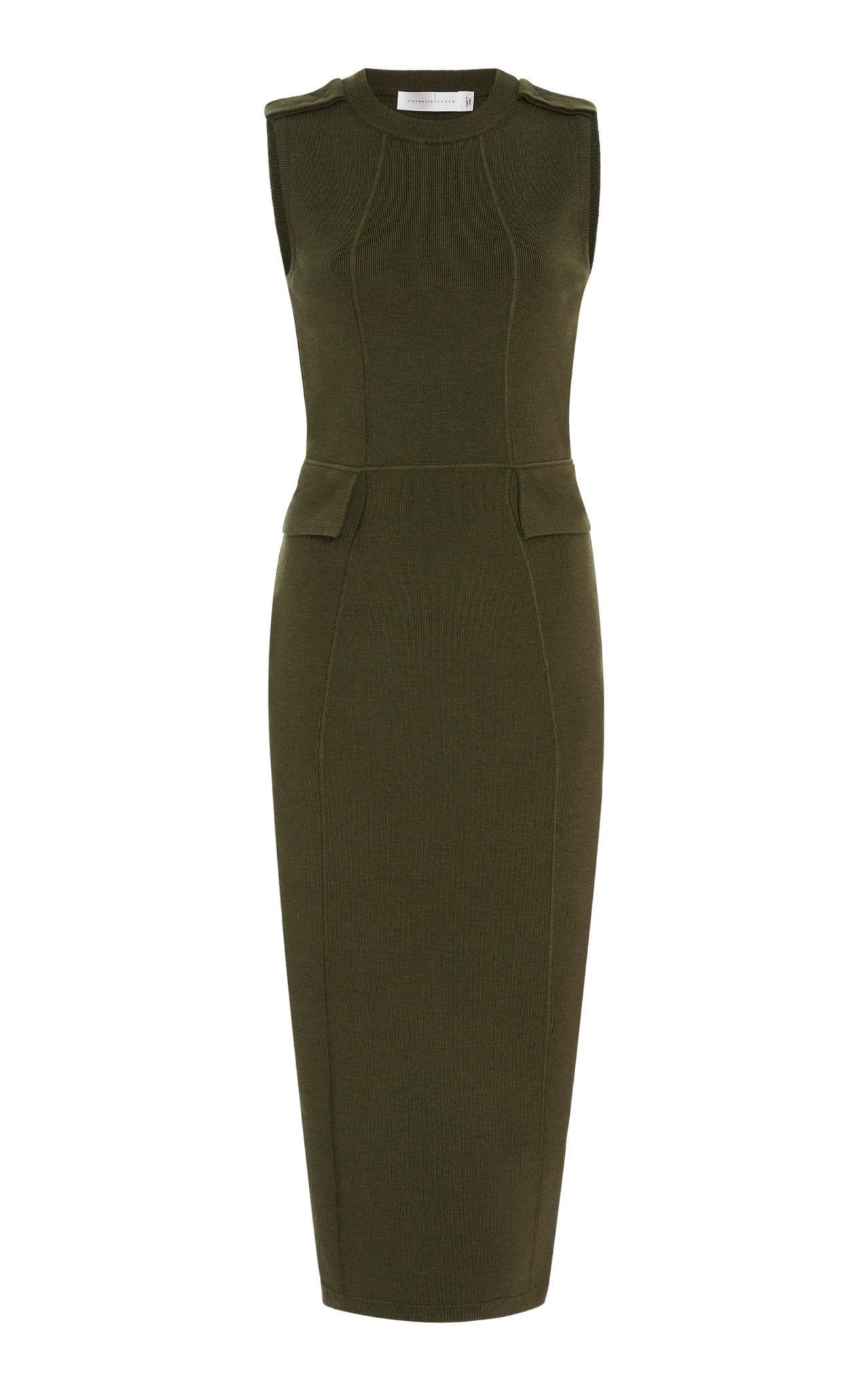 VICTORIA BECKHAM Brushed Wool-Blend Midi Green Dress 2