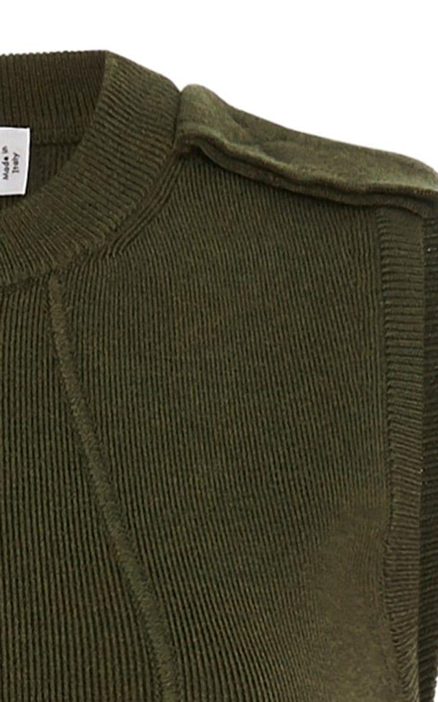 VICTORIA BECKHAM Brushed Wool-Blend Midi Green Dress 3