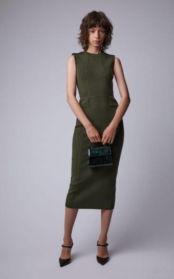 VICTORIA BECKHAM Brushed Wool-Blend Midi Green Dress