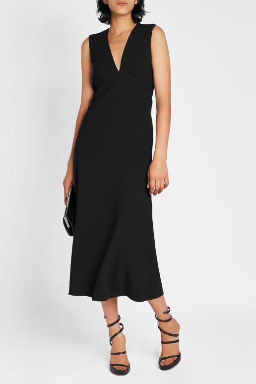 VICTORIA BECKHAM Draped Back Midi Black Dress
