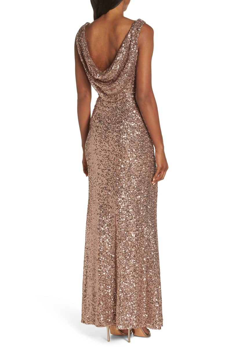 28e12a19d97 VINCE CAMUTO Cowl Neck Sequin Rose Gold Gown - We Select Dresses