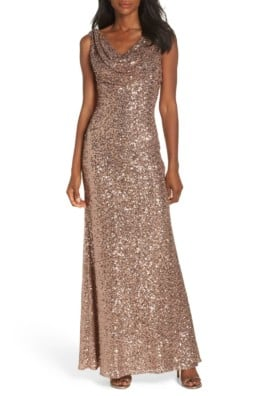 VINCE CAMUTO Cowl Neck Sequin Rose Gold Gown