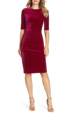VINCE CAMUTO Elbow Sleeve Velvet Sheath Dress