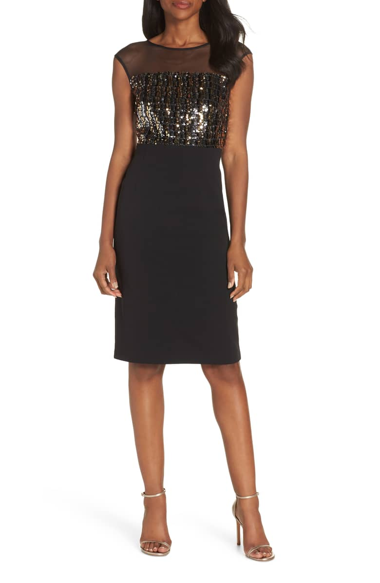 VINCE CAMUTO Metallic Sequin Body-Con Black Dress