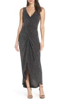 VINCE CAMUTO Ruched Glitter Knit Black Gown