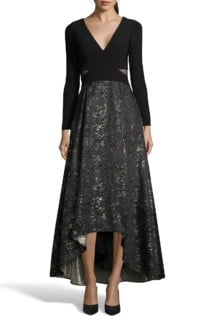XSCAPE Brocade High / Low Ball Black / Gold Gown