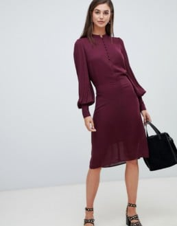 Y.A.S Tall Balloon Sleeve Textured Tie Waist Burgundy Dress
