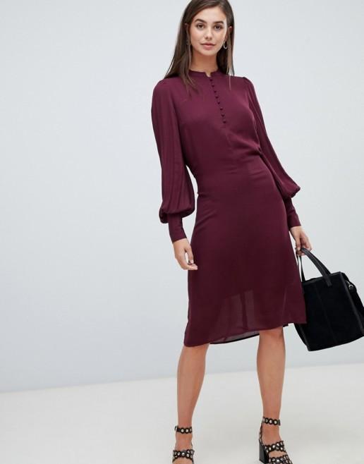 Y.A.S Tall Balloon Sleeve Textured Tie Waist Burgundy Dress