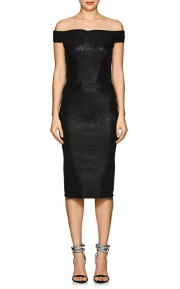ZAC POSEN Metallic Jacquard Off-The-Shoulder Midi Black Dress