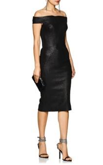 ZAC POSEN Metallic Jacquard Off-The-Shoulder Midi Black Dress