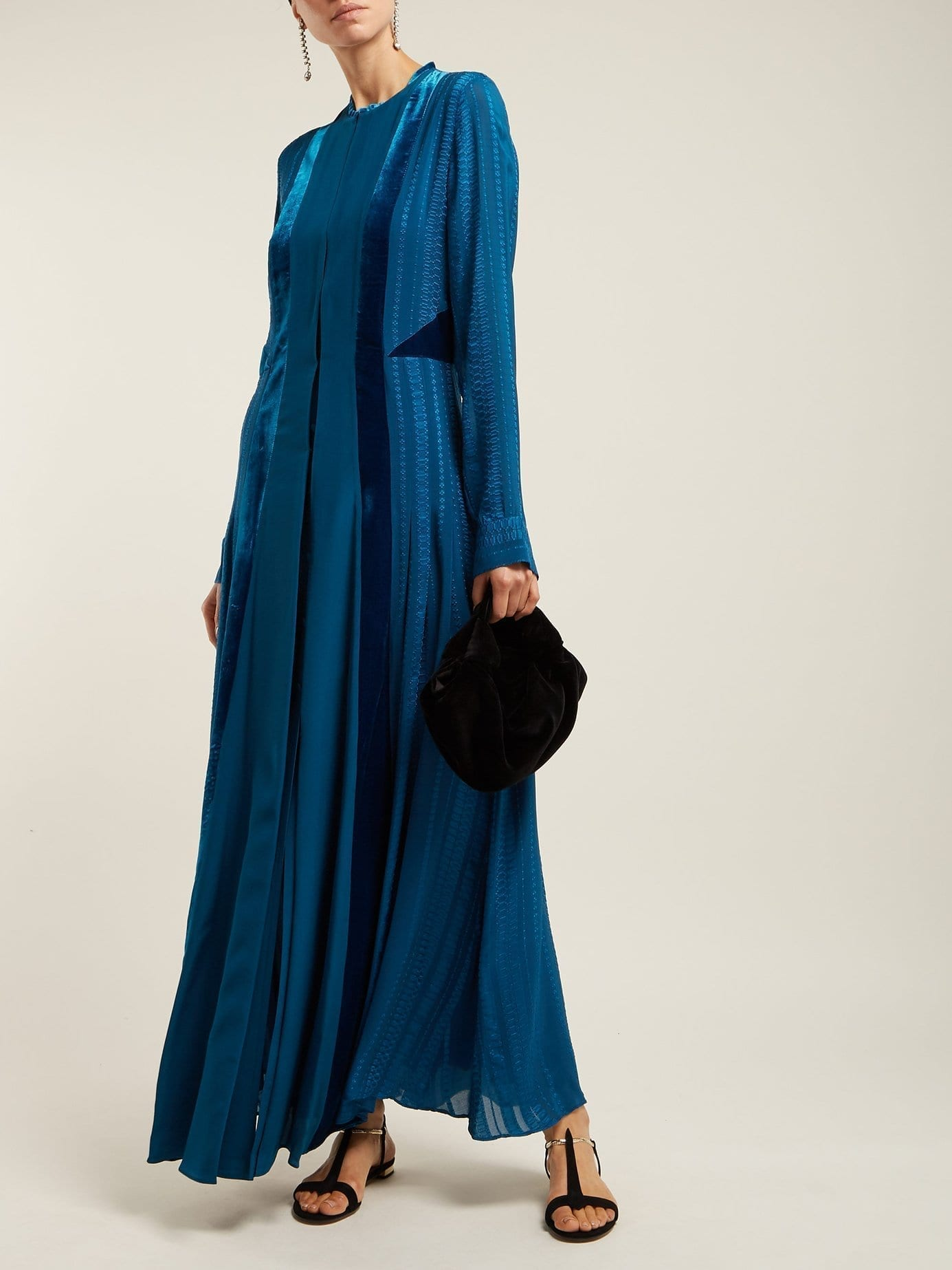 ZEUS + DIONE Justina Velvet Panel Silk Teal Blue Dress