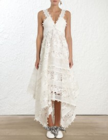 ZIMMERMANN Corsage Embellished Ivory Dress