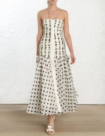 ZIMMERMANN Corsage Ruche Strapless Maxi Ivory / Black Dress