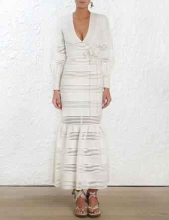 ZIMMERMANN Corsage V-neck Linen Midi Ivory Dress