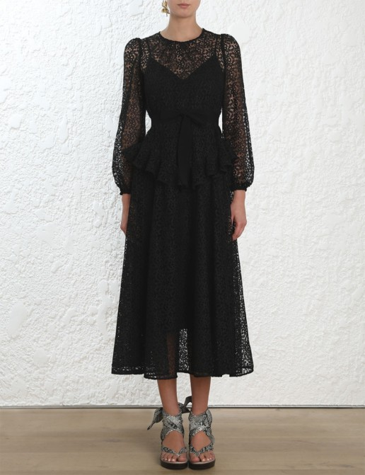 ZIMMERMANN Corsage Yoke Midi Black Dress
