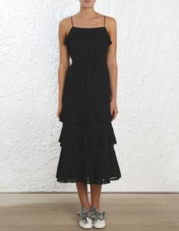 ZIMMERMANN Plisse Slip Black Dress