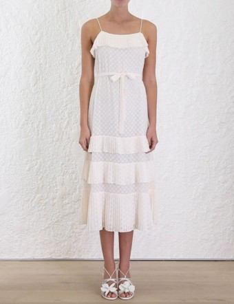 ZIMMERMANN Plisse Slip Sleeveless Midi White Dress