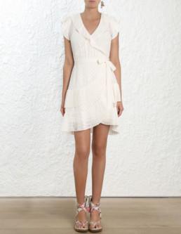 ZIMMERMANN Plisse Wrap Mini White Dress