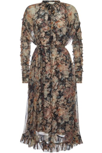 ZIMMERMANN Tempest Frolic Silk Chiffon Multi / Floral Printed Dress