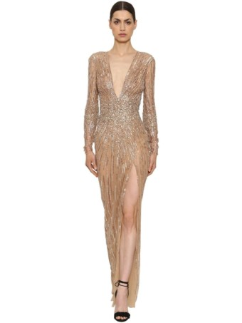 ZUHAIR MURAD Sequins & Beads Tulle Long Nude / Crystal Dress