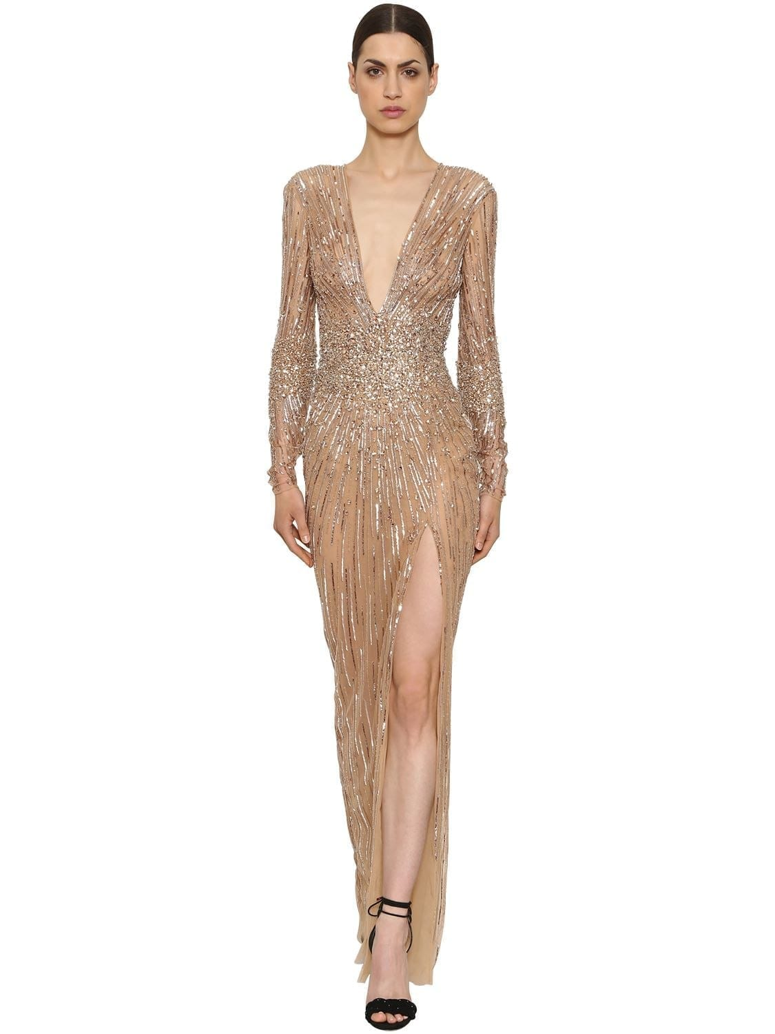 13dabd3809e ZUHAIR MURAD Sequins   Beads Tulle Long Nude   Crystal Dress - We ...