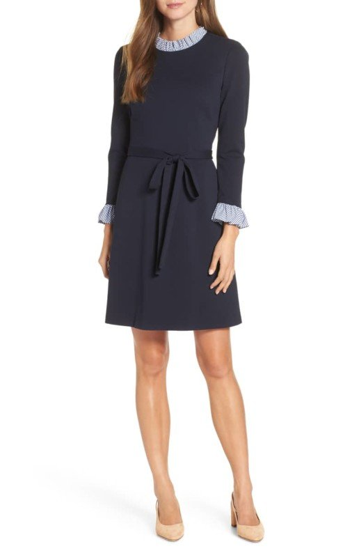 1901 Poplin Detail Tie Waist Navy Dress
