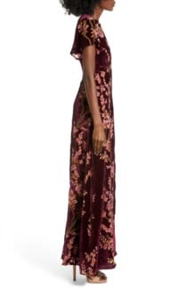 4SI3NNA Floral Burnout Velvet Maxi Dress 2