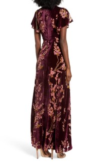 4SI3NNA Floral Burnout Velvet Maxi Dress 3