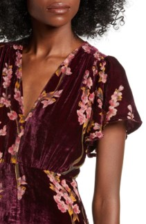 4SI3NNA Floral Burnout Velvet Maxi Dress 4