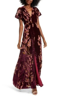 4SI3NNA Floral Burnout Velvet Maxi Dress