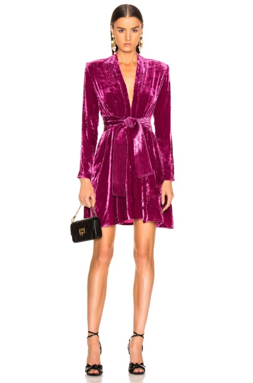 A.L.C. Crushed Velvet Kiera Hot Pink Dress
