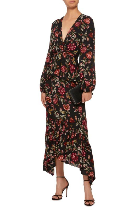 A.L.C. Stanwyck Tiered Floral-Print Crepe De Chine Midi Floral Dress