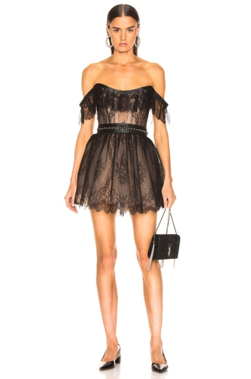 AADNEVIK Lace Mini Black Dress