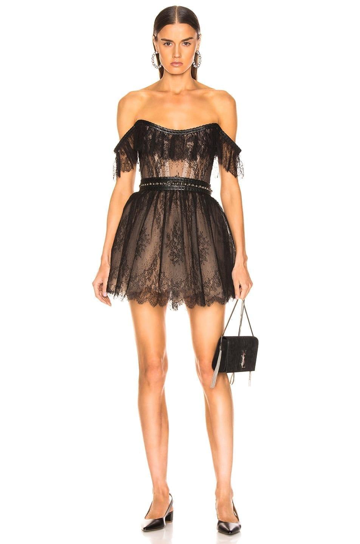 AADNEVIK Lace Mini Black Dress