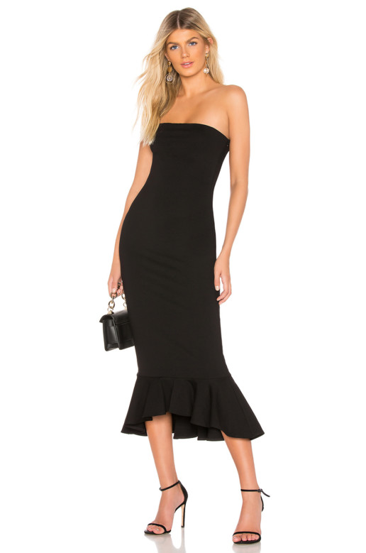 ABOUT US Izzy Ruffle Maxi Black Dress