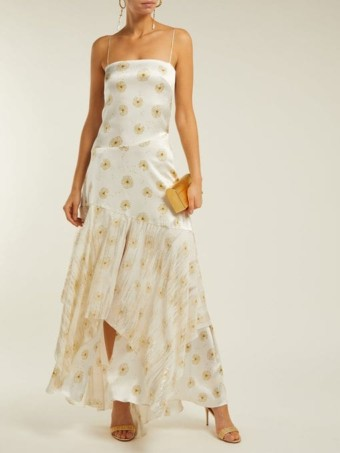 ADRIANA IGLESIAS Frida Dandelion-Print Silk-Blend Satin White Dress