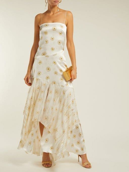 ADRIANA IGLESIAS Frida Dandelion-Print Silk-Blend Satin White Dress